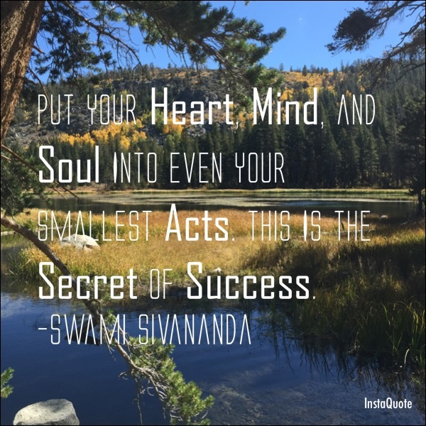 Put your heart mind and soul into even your smallest acts